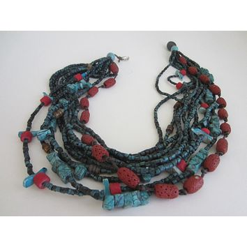 Southwestern Hand Carved Turquoise Coral Bead Strands Necklace Birds