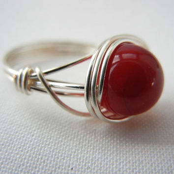 Red Bamboo Coral Ring, Wire Wrapped Jewelry Handmade, Wire Wrap Ring, Bamboo Coral Jewelry, Coral Ring, Red Stone Ring