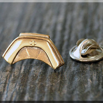 Brass Nurse Hat Badge Pin, Nursing Lapel Pin, Medical Brooch, Gift Under 10 Dollars, Medical Field Tie Tac, Nursing Gift Lapel Pin