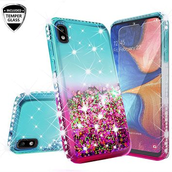 Motorola Moto E6 Case Liquid Glitter Phone Case Waterfall Floating Quicksand Bling Sparkle Cute Protective Girls Women Cover for Motorola Moto E6 W/Temper Glass- (Teal/Pink Gradient)