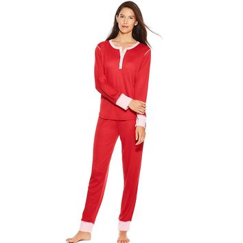 Hanes Women's Long Sleeve Waffle Henley & Jogger Pants Sleep Set