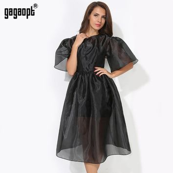 New Women Butterfly Sleeve Ball Gown Dresses Black 2 piece Vintage Elegant Dress for Party Spring/Summer