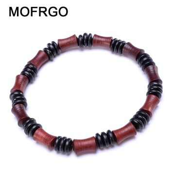 MOFRGO Simple Vintage Wood Bead Women Bracelet Wooden Bamboo Shape Red Black Beaded Chinese Style Meditation Wristband Men Yoga