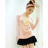 Long Sleeve Women Korean Style Sweet Scoop Cute Bowknot Beige Cotton T-shirt One Size @WH0365be $10.99 only in eFexcity.com.