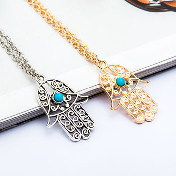 N929 Luck Hamsa Hand Pendants Necklace Fatima Hand Palm Statement Necklaces For Women Clavicle Collares Bijoux HOT Selling 2016