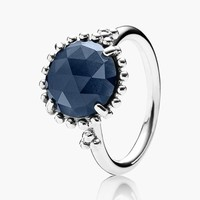 Women's PANDORA 'Midnight Star' Stone Ring - Silver/ Night Blue
