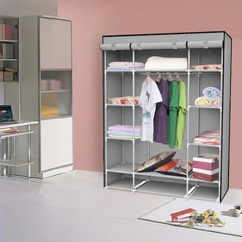 Felji 53-Inch Portable Closet Storage Organizer Wardrobe Clothes Rack With Shelves Grey