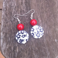 Black and White Floral Print Earrings and Red Coral Accent Bead Cute Earrings Fun Jewelry