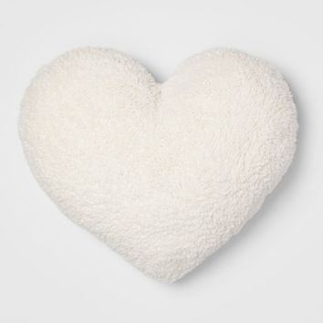 Sherpa Oversize Heart Throw Pillow Cream