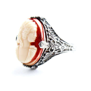 Vintage Sterling Silver Cameo Uncas Ring -  Size 3 Open Filigree Costume Jewelry / 1910s 1920s Lady Silhouette