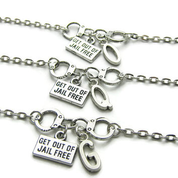3 Partners In Crime Handcuff Get Out Of Jail Free Initial Best Friend Bracelets, Sisters Bracelets, Personalized Bracelets,Partners In Crime
