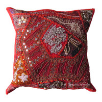 Vintage Antique Red Beaded & Embroidered Accent Throw Pillow Cover Sham