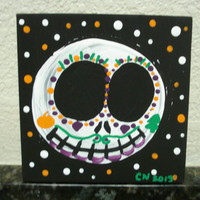 Jack Skellington inspired Sugar skull Painting - Original painting - Acrylic on canvas - Christmas - Holiday - Jack Skellington fan art