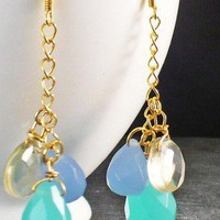 Blue Chalcedony and Citrine Briolette Earrings Dangle | BellaSweet - Jewelry on ArtFire