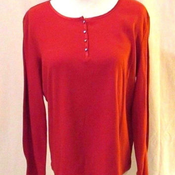 Chico's Henley Top Shirt Women's 2 (size L /12) Red Long Sleeve Satin Trim Neck