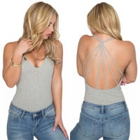 Hold Tight Jersey Bodysuit In Grey