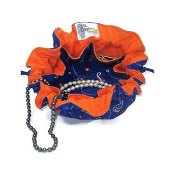 Drawstring Travel Jewelry Pouch / Satchel - Medium - Florida with Orange Lining