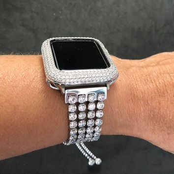 38mm/40mm 42mm/44mm Apple Watch Bangle Cuff Band Big Rhinestones Bead Chain Series 1 2 3 4 Women/Case Cover Bezel Iced Out Lab Diamond Bling