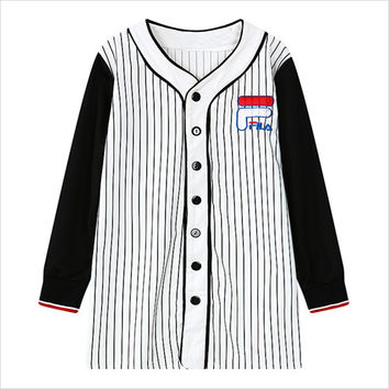 White Buttoned Vertical Striped Jacket