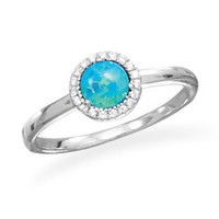 Sterling Silver Blue Opal and CZ Ring