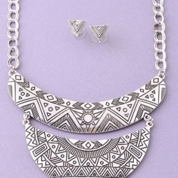 Tribal Cut Layered Necklace in Silver or Gold