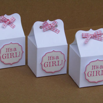 It's a Girl Baby Shower Candy Favor Box - Pink Gingham Ribbon - It's a Girl - Baby Shower Favor Bags - 2X2X2 Box - Set of 10