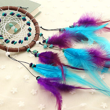 1Pc Antique Imitation Dreamcatcher Gift checking Dream Catcher Net With natural stone Feathers Wall Hanging Ornament 8z-ca220