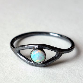Sterling and Opal Eye Ring