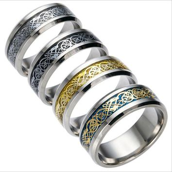 SUTEYI 2017 Stainless steel Ring of Power Gold Black The Lord of Rings Women Finger Wedding Brand Dragon ring Jewelry Accessory