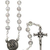 St. Michael Rosary w/ Clear Crystal Beads