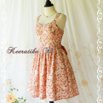 A Lovely Queen - Romance Sweetheart Pastel French Rose With Floral Prom Party Dress Wedding Bridesmaid Dress Cocktail Sundress Custom Made