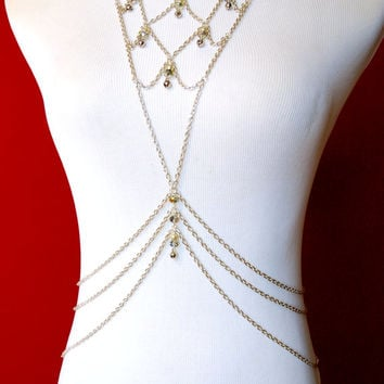 Pearly Silver Scales - Festival / Belly Dance Body Chain with Crystal Bead, Pearl & Bell Accents