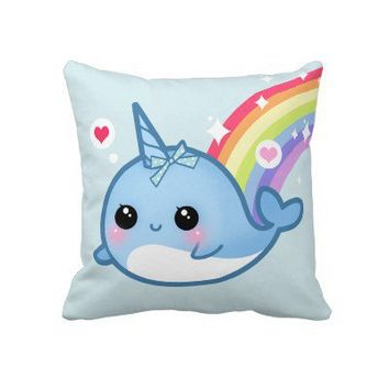Cute baby narwhal and rainbow pillow from Zazzle.com