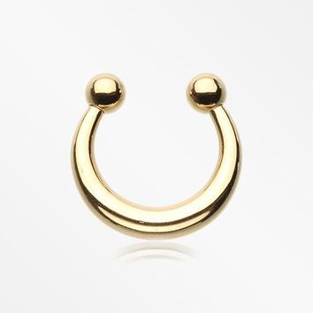 Golden Basic Fake Septum Horseshoe