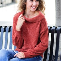 * Hey Now Chenille Sweater: Rust