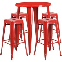 30'' Round Metal Indoor-Outdoor Bar Table Set with 4 Square Seat Backless Barstools