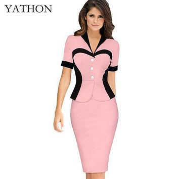 YATHON False two Heart Pattern Formal Office Work Pencil Dress For Women Elegant Pin Up Summer Bodycon Casual Prom Party Dresses