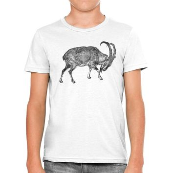 Austin Ink Apparel Ibex Mountain Goat Unisex Kids Vintage Printed T-Shirt