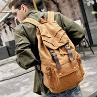 Canvas Leather Hiking Travel Military Backpack - Brown