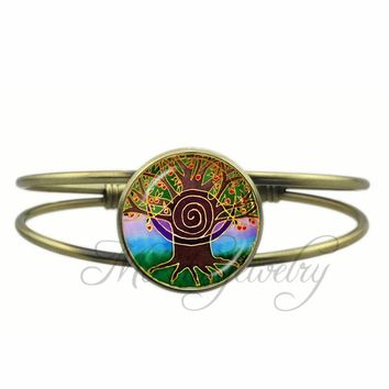Meditation Mandala Bracelet Life Tree Bangles Jewelry Third Eye Open Cuff Bangle Spiritual Metaphysical Jewellery