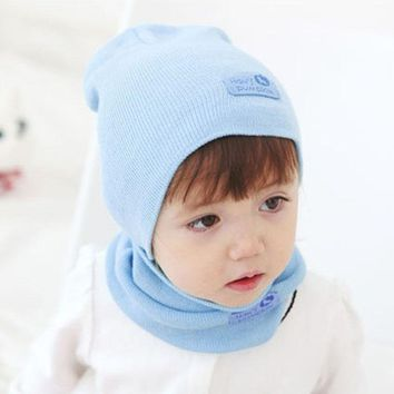HQ New Winter Kids Warm Knit Caps and Scarf Sets Solid Cotton 2017 Autumn Fashion Children Hats Skullies Accessories DYY1639