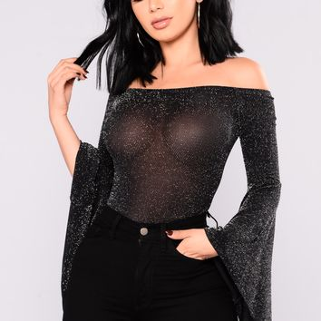 Dejah Off Shoulder Bodysuit - Black/Silver