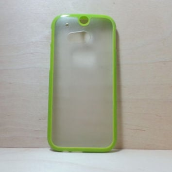 HTC One M8 Case Silicone Bumper and Translucent Frosted Hard Plastic Back - Grass Green