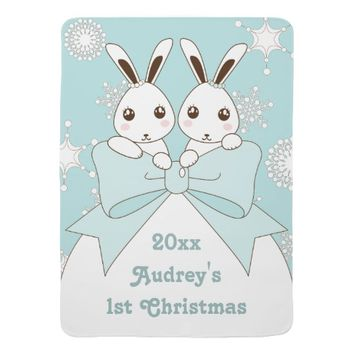 Cute Twin Bunnies and Snowflakes Kids Christmas Stroller Blankets