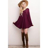 """Nelly"" V-Neck Long Sleeve Dress - Burgundy"
