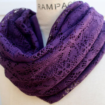Purple Infinity Scarf FREE SHIPPING  Women Scarves Purple Lace Circle Scarf Winter Fall FashionLightweight  - By PIYOYO