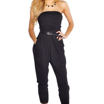 Chloe Black Harem Style Strapless Jumpsuit with Pockets