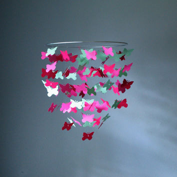 Medium Fuchsia, Mint, and Pink Butterfly Swarm Chandelier