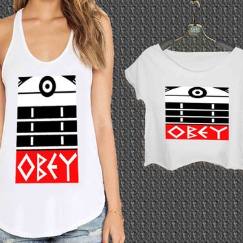 Doctor Who Dalek Obey Style For Woman Tank Top , Man Tank Top / Crop Shirt, Sexy Shirt,Cropped Shirt,Crop Tshirt Women,Crop Shirt Women S, M, L, XL, 2XL **