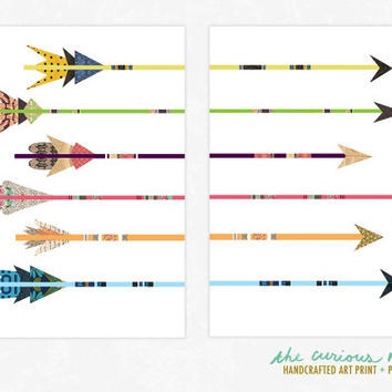 Colorful Art Print Arrow Collages - Poster Print Wall Decor - Collage Art Giclee Print